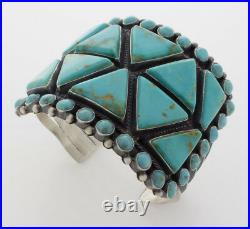 Kingman Turquoise Bracelet By Navajo Artist Anthony Skeets