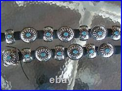 LARGE Navajo Indian Handmade Turquoise & Nickel Silver Concho Belt. Kayonnie