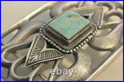 LEON MARTINEZ Large Navajo BELT BUCKLE TUFA CAST Sterling Silver TURQUOISE KETOH