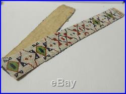 LOOM BEADED BLANKET STRIP 1880s ANTIQUE VINTAGE PLAINS SIOUX INDIAN SPIDER LINES