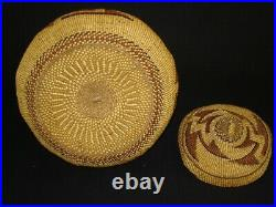 Large Hupa basket with cover, Native American Indian, circa 1910