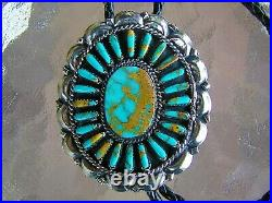 Large Navajo Indian Handmade Turquoise & Nickel Silver Bolo Tie Deschinny