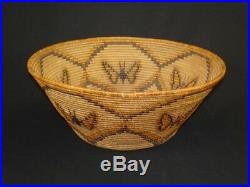 Large Panamint polychrome butterfly basket, Native American Indian, c. 1920