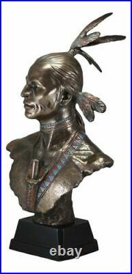 Large Tribal Native American Indian Warrior With Eagle Feather Bust Statue Decor