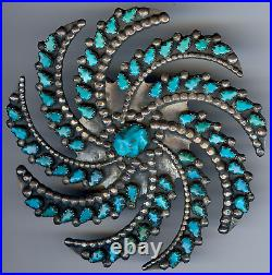 Large Vintage Zuni Indian Silver Carved Turquoise Swirl Galaxy Pin Brooch