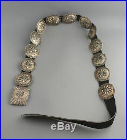 Lg Vintage Navajo Indian Handstamped Silver Concho Belt 50 Floyd Arviso