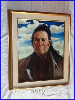 Listed Artist Signed Frank Szasz Native American Indian Portrait Oil Painting