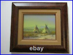Mark Geller Oil Painting Vintage Landscape Native American Indian Teepee Camp