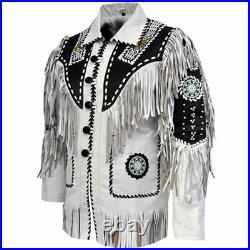 Men Native American Indian Leather Jacket Beading & Fringe Work