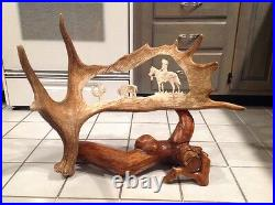 Moose Antler Carving Native American Indian Buffalo Bison Cactus JA 03 Log Stand