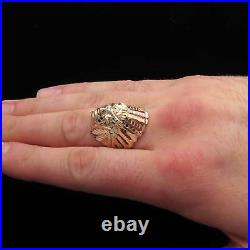 NEW Indian Chief Head Ring Solid 14K Yellow Gold Men's Band Size11