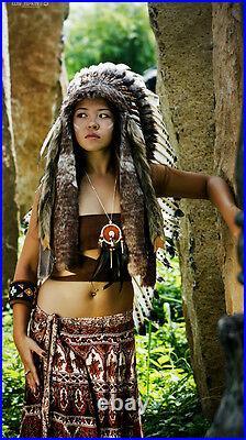 Native American Headdress / Long Indian Headdress / War Bonnet / Indian Costume