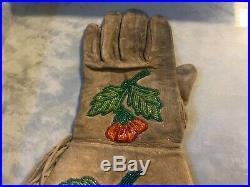 Native American Indian Beaded Gauntlet Gloves Framed 1880s