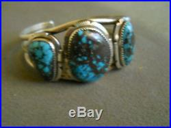 Native American Indian Bisbee Turquoise Sterling Silver Cuff Bracelet Signed AL