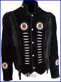 Native American Indian Black Cowboy Suede Leather Coat Fringed & Beaded Jacket