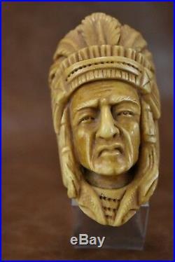 Native American, Indian Figure Pipe Block Meerschaum-NEW W CASE#305