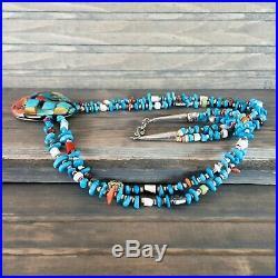 Native American Indian Jewelry-Mosaic Stone/Shell Necklace-Santo Domingo/Kewa