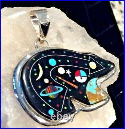 Native American Indian Jewelry Sterling Silver Micro Inlay Cosmic Bear Pendant