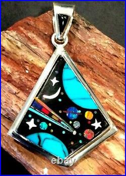 Native American Indian Jewelry Sterling Silver Micro Inlay Cosmic Pendant Signed