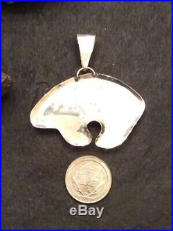 Native American Indian Jewelry Sterling Silver Micro Inlay Monument Valley Bear