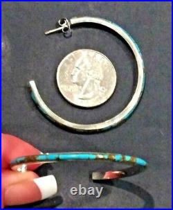Native American Indian Jewelry Sterling Silver Turquoise Hoop Earrings Signed