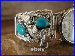 Native American Indian Jewelry Sterling Silver Turquoise Wolf Watch