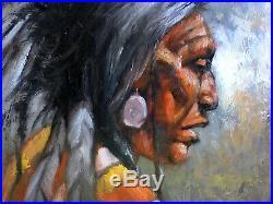 Native American Indian MEDICINE MAN original WESTERN ART oil painting Scottsdale