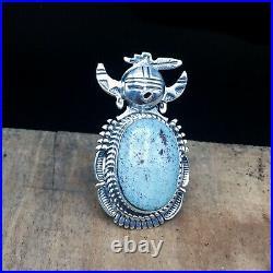 Native American Indian-Navajo Sterling & Dry Creek Turquoise Kachina Pendant