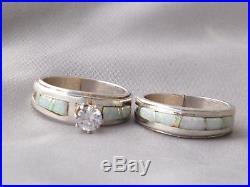 Native American Indian Navajo Wedding Rings Band White Opal CZ Muskett Sz 5 1/2
