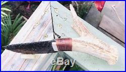 Native American Indian Obsidian Blade Knife Deer Antler Flint Knap Knapping Art