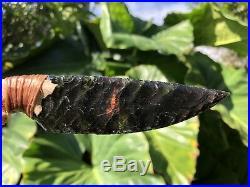 Native American Indian Obsidian Blade Knife Jaw Handle Flint Knap Knapping