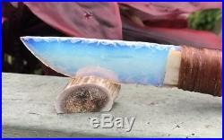 Native American Indian Opal Blade Knife Dear Bone Handle Flint Knapping Knap Art