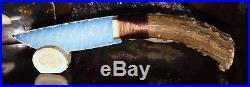 Native American Indian Opal Blade Knife Deer Bone Antler Flint Knap Knapping