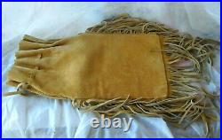 Native American Indian Plains Pipe Tabaco Bag Elk Hide Beaded Fringed