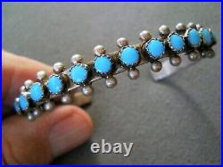 Native American Indian Turquoise Snake-Eye Row Sterling Silver Cuff Bracelet