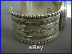 Native American Indian Turquoise Sterling Silver Bracelet Signed JEFF JAMES JR