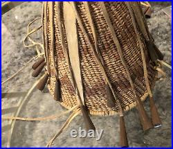 Native American Indian Vintage Old 8 Tall Woven Apache Burden Basket Dangles