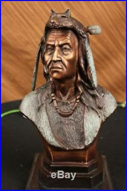Native American Indian Warrior Chief Bronze Bust Sculpture Statue Figurine Art