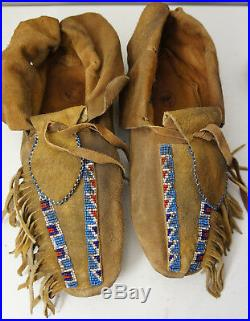 Native American Leather Comanche Shoes Moccasins indian LONE RANGER Movie Prop