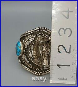 Native American Navajo Horse Sterling & Bisbee Turquoise Cuff Bracelet
