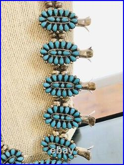 Native American ZUNI Silver Needlepoint Turquoise Squash Blossom Necklace 1960s