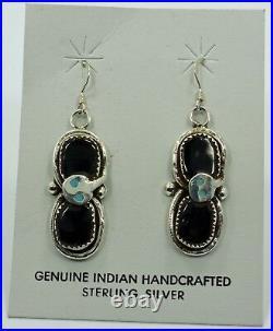 Native American Zuni Tribe Indian Earrings Effie C. (Calavaza) Snake Black Onyx