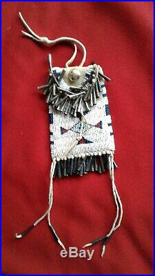 Native North American Plains Indian Beaded Buckskin Strike A Light Bag Pouch