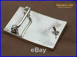 Navajo Indian 14K Yellow Gold/Sterling Silver Black Onyx Handmade Belt Buckle