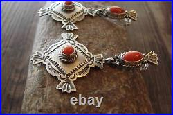 Navajo Indian Heavy Stamped Sterling Silver Coral Post Earrings Calladitto