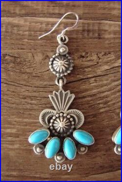Navajo Indian Heavy Stamped Sterling Silver Turquoise Dangle Earrings Calla