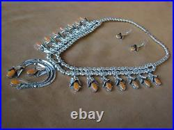 Navajo Indian Jewelry Spiny Oyster Squash Blossom Necklace Set Louise Yazzie