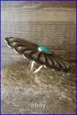 Navajo Indian Jewelry Sterling Silver Concho Turquoise Ring Size 6 1/2 Rita