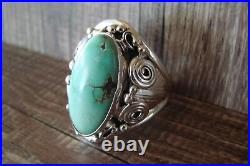 Navajo Indian Jewelry Sterling Silver Men's Turquoise Ring Size 13 1/2 Darr