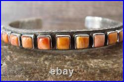 Navajo Indian Jewelry Sterling Silver Spiny Oyster Row Bracelet Ernest Rangel